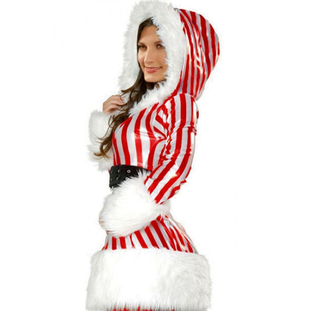 Sexy Xmas Santa Christmas Candy Cane Costume