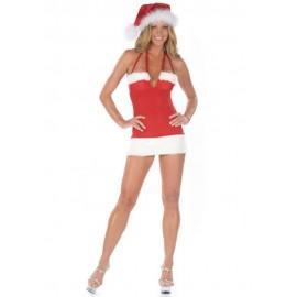 Christmas Costume Halter Night Club Santa Mini Dress