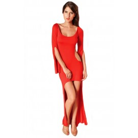 Slinky Cocktail Club Cut Out Back Long Dress Red