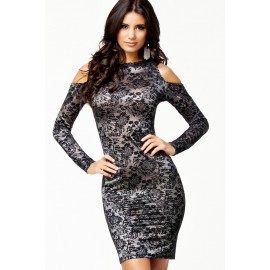 Sexy Cut out Shoulders Party Lace Vintage Dress