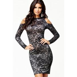 Cut Out Shoulders Lace Black Dress