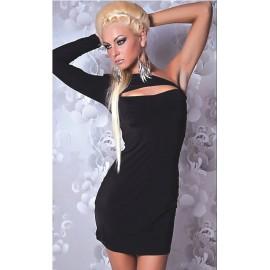 One Shoulder Decollete Mini Dress Black