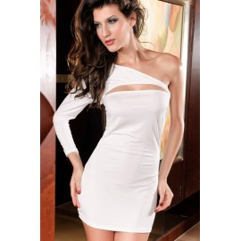One Shoulder Mini Dress Sexy Decollete With G-String White
