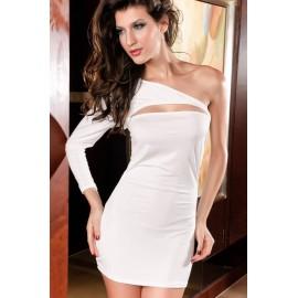 One Shoulder Decollete Mini Dress White