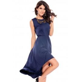 Elegant Drag Back Midi Dress Blue