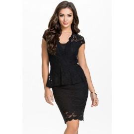 Flawless Lace fabricated Black Peplum Dress