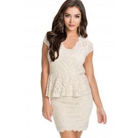 Flawless Lace fabricated Ivory Peplum Dress