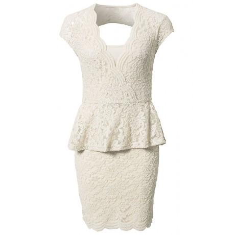 Flawless Lace Ivory Peplum Dress