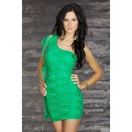 One Shoulder Slash Neck Style Lace Mini Dress Green