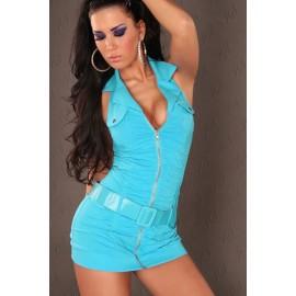 Fantastic V-Neck Fitting Halter Mini Dress With Belt Blue
