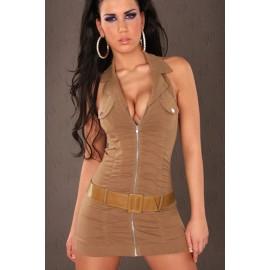 Fantastic V-Neck Fitting Halter Mini Dress With Belt Brown