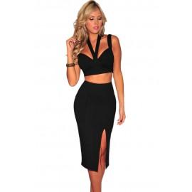 Halter Neck Backless Skirt Set Black