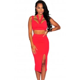 Sexy Halter Neck Backless Night Club Skirt Set Red