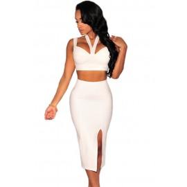 Sexy Halter Neck Backless Night Club Skirt Set White