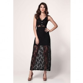 Lace Vest Back Show Legs Sexy Maxi Dress With G-String Black