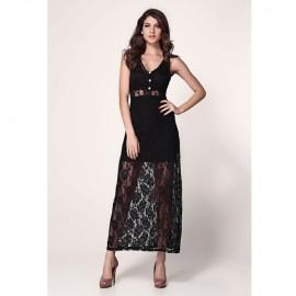 Lace Vest Show Legs Maxi Dress Black