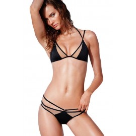 Sexy Mesh Hollow-out Black Beach Swimwear Bikini sets
