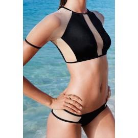 Sexy Mesh Insert Rashguard Beach Bikini Swimwear