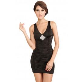 Tight Coat Rack Rhinestone Look Mini Dress With G-String Black