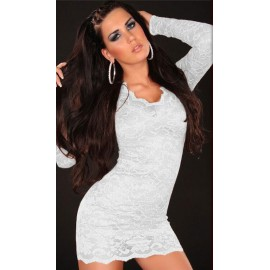 V-Neckline Long Sleeves Lace Mini Dress With G-String White
