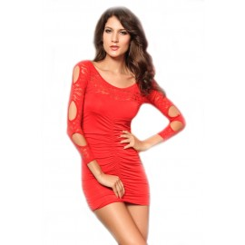 O-Neck Precious Red Lace Mini Party Dress With G-String