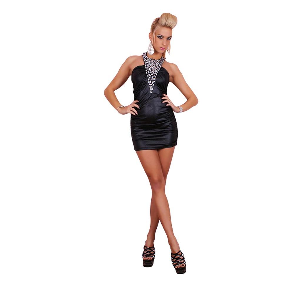 Sexy Mini Kleid Leder Wet Look Strass Party Mini Dress Black