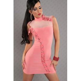 Elegant Lace Sleeveless Mini Dress Pink