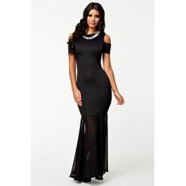 Sexy Cut out Shoulders Long Evening Dress Black