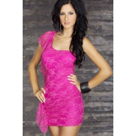 Slash Neck Lace Mini Dress Pink
