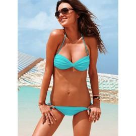 Sexy Push Up Padded Bandeau Bikini Set Swimwear Royal Blue