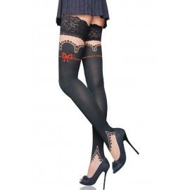 Sexy Red Bow Patchwork Thigh High Stockings Black
