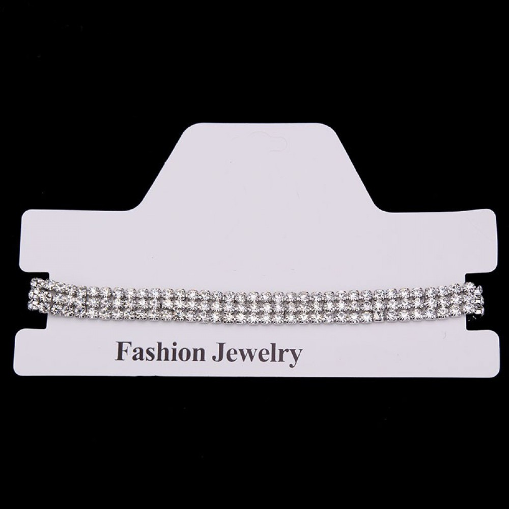 3 Row Choker Rhinestone Necklace