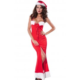 Night Club Sexy Santa Christmas Lace Up Long Gown