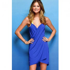 Cross Front Beach Cover up Sapphire Blue