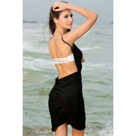 Cross Front Beach Cover up Black