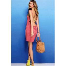 Sexy Stylish Swimwear Cross Front Bikini Cover up Coral
