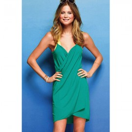 Cross Front Beach Cover up Emerald