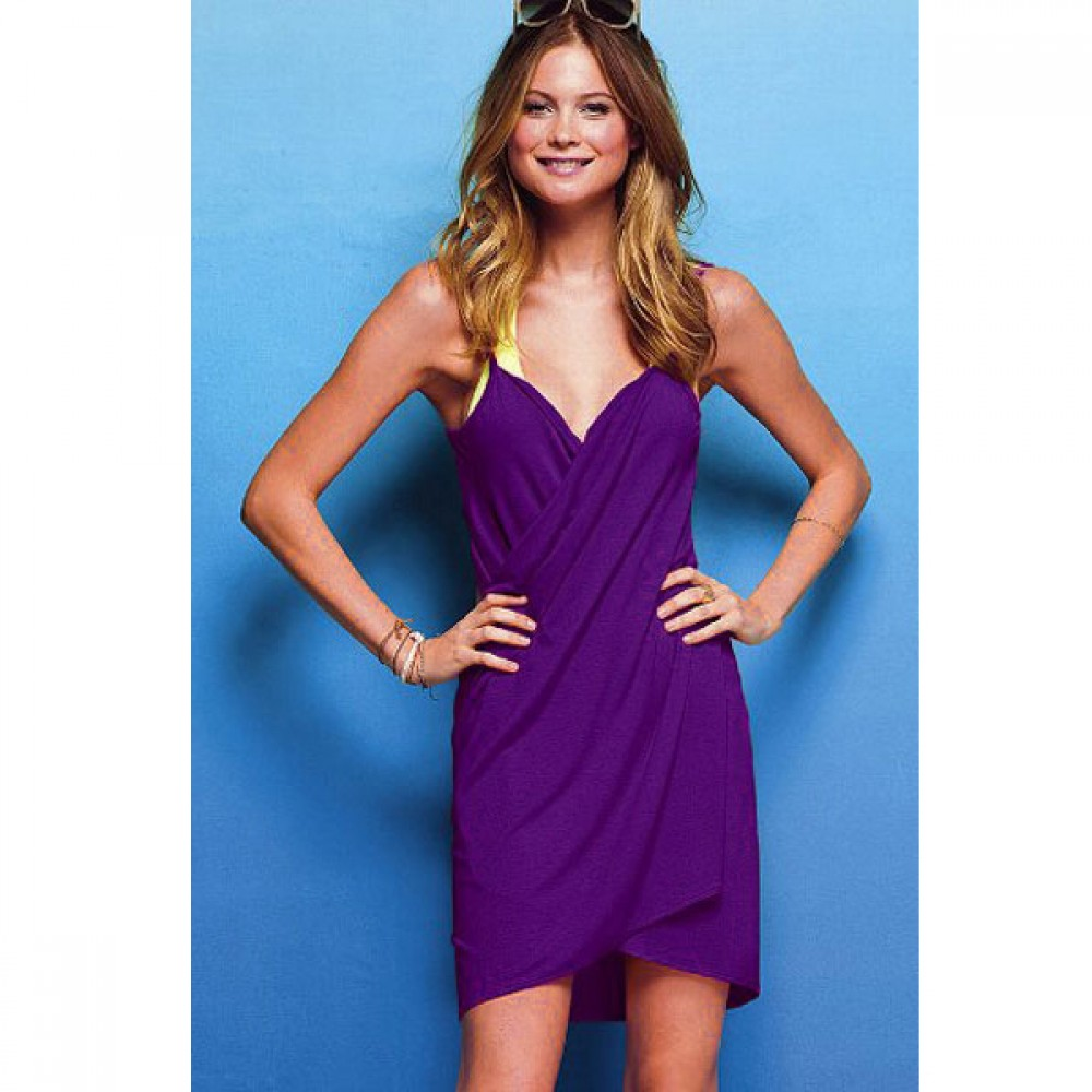 0df1f3657e Sexy Stylish Swimwear Cross Front Beach Bikini Cover up Violet