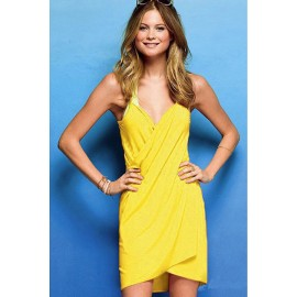 Cross Front Beach Cover up Yellow