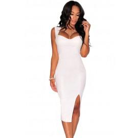 White Faux Leather Key Hole Back Padded Midi Dress