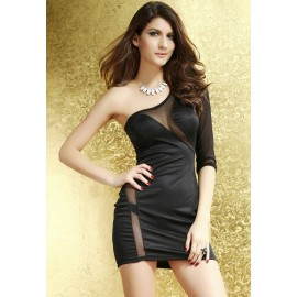Short One Shoulder Bodycon Party Mini Dress Black