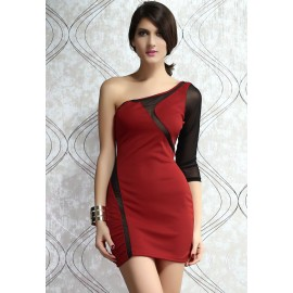 Short One Shoulder Bodycon Party Mini Dress Red