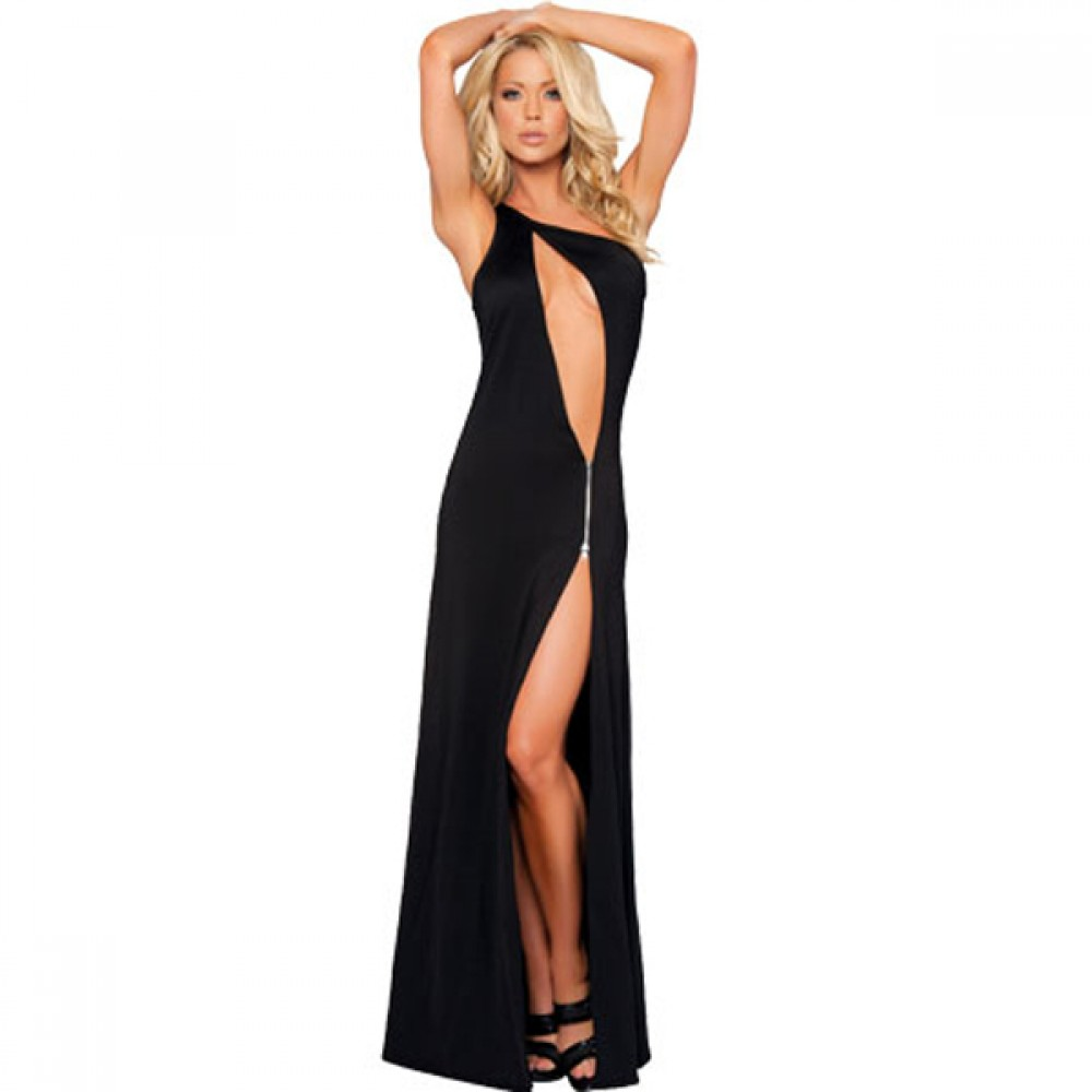 96901a0b8 One Shoulder Zipper Cut Out Gown Long Dress