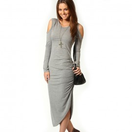 Cut Out Ruched Side Midi Dress Gray
