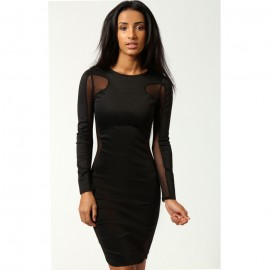 Lily Mesh Exposed Top and Side Bodycon Dress Black