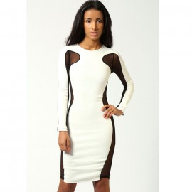 Lily Mesh Exposed Top and Side Bodycon Dress White
