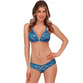 Exotic Lace Triangle Lingerie Sky Blue