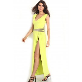 Sleeveless Lemon Maxi Dress