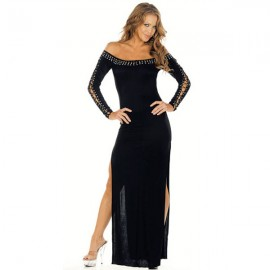 Strapless Gown With Long Lace Up Sleeves And Side Slits