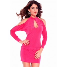 Hollow Outs Studs Mini Dress Rosy
